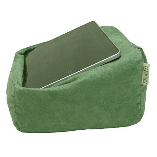 LESEfit Soft antirutsch Lesekissen, Tablet Kissen Halter kompatibel mit iPad, Sitzsack für Buch & e-Reader (multifunktionale Quader-Form) für Bett & Sofa - Wildleder-Imitat grün