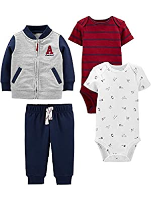 Simple Joys by Carter's Baby 4-Piece Fleece Jacket, Pant, and Bodysuit Set, Blue/Red, 3-6 Months