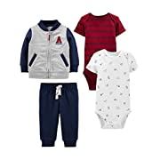 Simple Joys by Carter's Boys' 4-Piece Fleece Jacket, Pant, and Bodysuit Set, Blue/Red, 0-3 Months