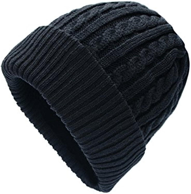 GUYOULY Winter Wool Hat Male Black Knit Hat Female Winter Windproof Warm Thickening Ear Cap