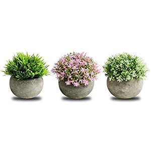 Azoco Small Artificial Plants Mini Fake Plants Decoration Fresh Green Grass in Pot for Bathroom Farmhouse Home House Office Table Decor Set of 3 (Green)