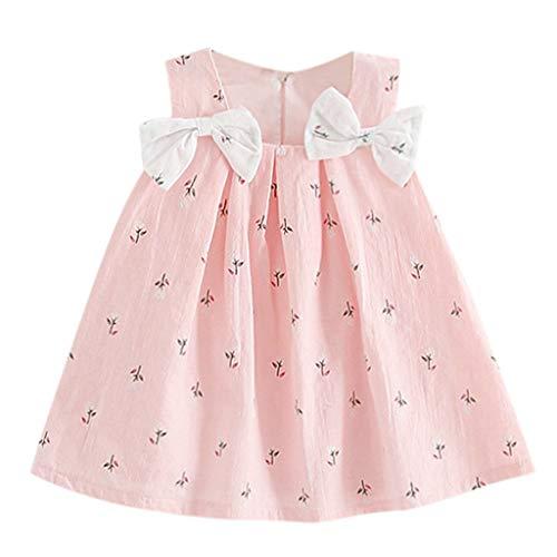Kobay Mädchen Sommer Süßes Muster Kleinkind Kind Baby Mädchen Solid Bow Print Blumen Hosenträger Prinzessin Partykleid