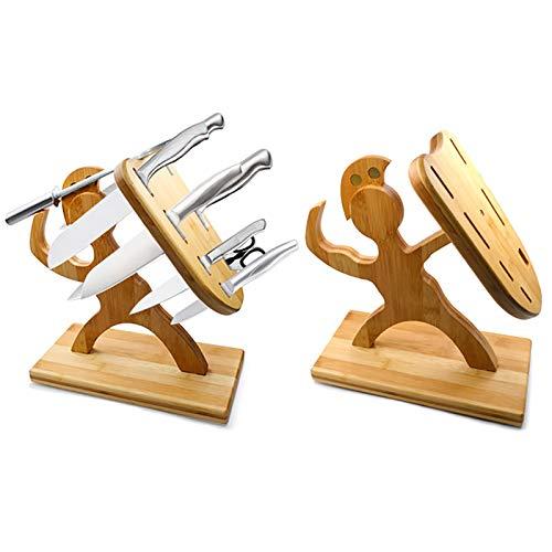 MLING Hölzernes Küchenmesserregal, kreativer menschlich geformter hölzerner Messerhalter, Messer Ahorn Aufbewahrungsregal, Home Dining Kitchen Ornament, 7 Slot
