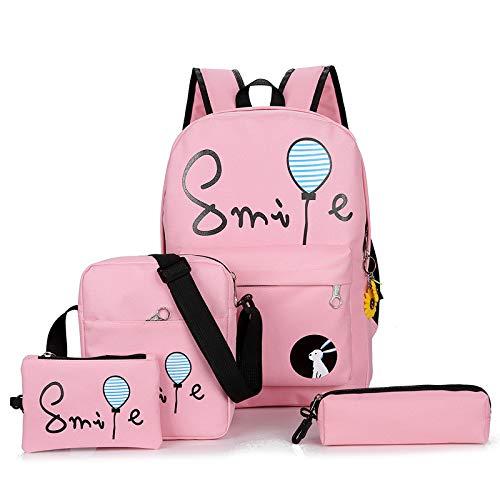 LIRUI 4 Stks School Bag Book Bag Voor Studenten, afdrukken Schooltas Voor Tiener,Meisjes Jongen Oxford Rugzak Vrouwen Satchel+4 Sets briefpapier roze