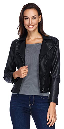 Black Leather Jacket Women, Women's Zip up PU Outerwear Slim Fit Leather Jacket for Teen Girls Black L