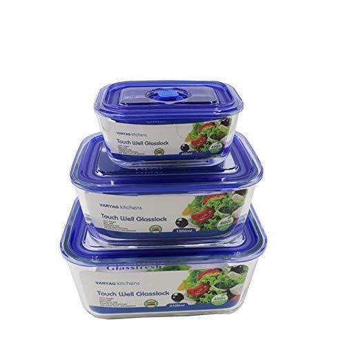Larew Juego de 3 recipientes herméticos con tapa, apilables, para cocina o frigorífico