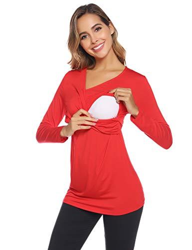 Aibrou Camisetas Lactancia de Manga Larga Camiseta de Lactancia Algodon Camisa de Maternidad Premamá Ropa de Enfermería (B-Rojo, Medium)