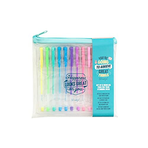 Set of 12 coloured pens - Happiness looks great on you