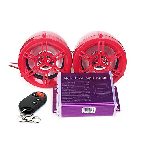 Yan Jianliang Audio Reproductor de Música FM,Bluetooth Motocicleta Altavoces w/Antirrobo/TF/WAV/Reproductor de música MP3 Luz Intermitente Unidad USB 12V (Rojo)