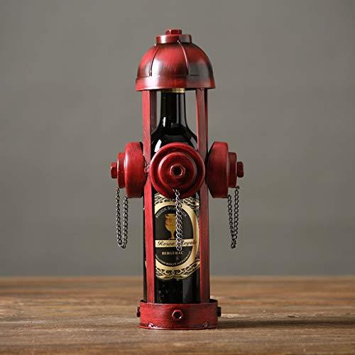 LCTCJJ Retro Forjado de Hierro Bombero Vino Botella Holder Stand Rack hogar Cocina Mesa decoración del Arte Rojo Adornos creativos (Color : Fire hydrants)