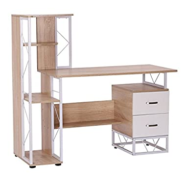HOMCOM 52?Multi Level Tower Office Workstation Computer Desk ?White and Oak