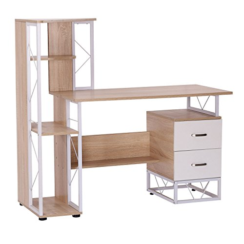 "HOMCOM 52"" Multi Level Tower Office Workstation Computer Desk -White and Oak"