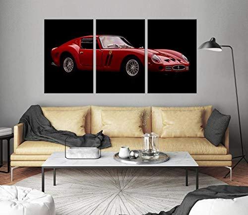 DDSDA Arte Pared Pintura Tríptico Cuadro sobre Lienzo 3 Piezas Impresión en Lienzo Rojo Ferrari 250 GTO de Lujo...
