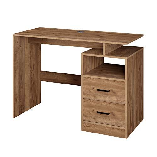 Homfa Computertisch Schreibtisch Arbeitstisch PC-Tisch Bürotisch mit 2 Schubladen und 1 offenen Fach aus Holz skandinavisches Design modern Braun 108x48x76.5cm(BxTxH)