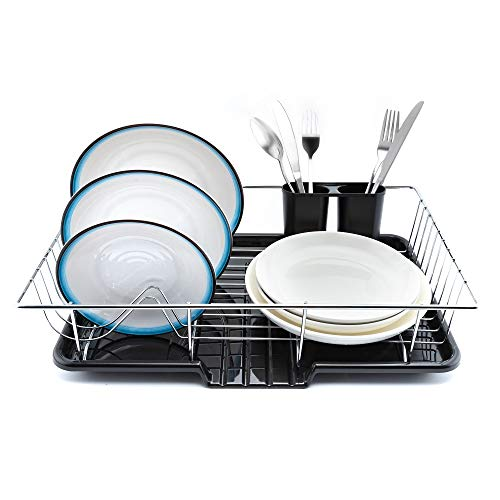 Premium Dish Rack & Drainboard Set - Large Capacity Over The Counter Dish Drying Rack with Drain Board & Utensil Holder- Sturdy & Rust-Resistant Drain Rack for Plates, Glasses & Silverware (Chrome)