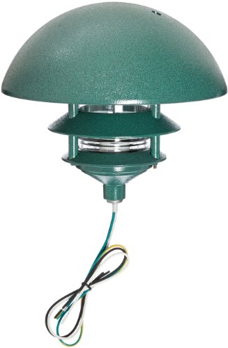 RAB Lighting LLD3VG Incandescent 3 Tier Lawn Light with Dome Cap, 75W Power, 1220 Lumens, 120VAC, Verde Green