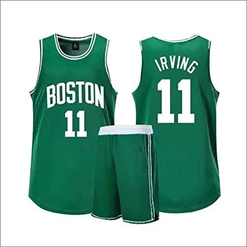 Chaleco Sin Mangas De Los Hombres Irving Retro Kyrie #11 Kits Celtics Boston Baloncesto Jersey Cifrado Tejiendo Trajes Top+Shorts 1 Set - Verde