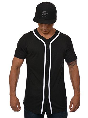 YoungLA Baseball Jersey Plain Shirts for Men Button Down Sports Tee Made w/Soft Cotton 304 Black - Medium