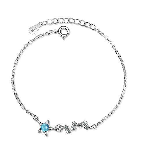 HJPAM Blauwe kristal ster bedelarmband vrouwelijke kinderen 925 zilveren verstelbare armband prachtige sieraden cadeau