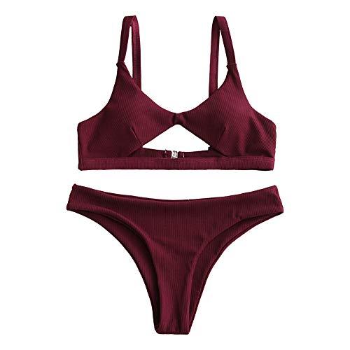 ZAFUL Damen Cut Out Low Waisted Bikini Set Beachwear Rot S