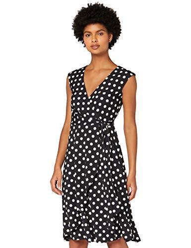 Marchio Amazon - TRUTH & FABLE Vestito a Portafoglio in Cotone Jersey Donna, Multicolore (Spot), 44, Label: M