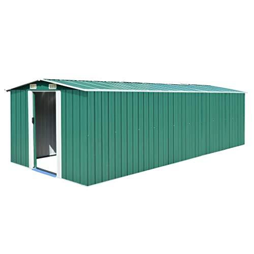 Festnight Caseta de Jardín de Metal para Almacenamiento de Herramientas con 4 Ventilaciones Verde 257x597x178 cm