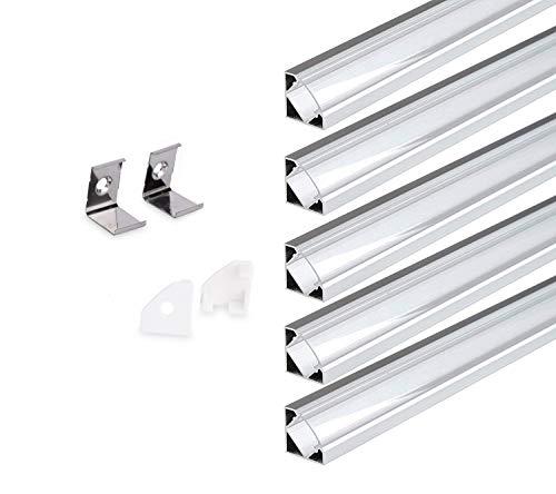 KingLed – 5pz di Profilo in Alluminio Angolare 45 Gradi da 1 Metro Modello 007 con Cover Trasparente Per Striscia Led Cod 0751