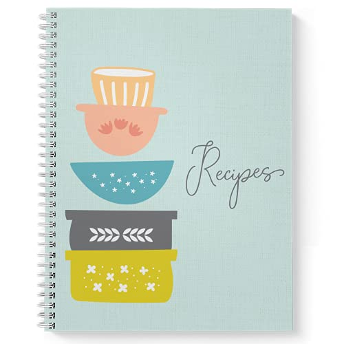 Softcover Recipe Dishes 8.5' x 11' Spiral Notebook/Recipe Book, 120 Recipe Pages, Durable Gloss...