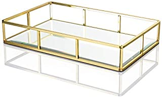 "Display4top Tray Mirror,Decorative Countertop Organizer,Vintage Gold Mirrored Glass Metal Tray Ornate Tray Jewelry Perfume Organizer Makeup Tray for Vanity,Dresser,Bathroom,Bedroom(12""x7.4"