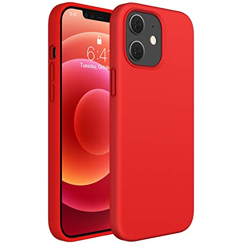 Miracase Compatible with iPhone 12 Case and iPhone 12 Pro Case 6.1 inch(2020),Liquid Silicone Gel Rubber Full Body Protection Shockproof Drop Protection Case(Red)