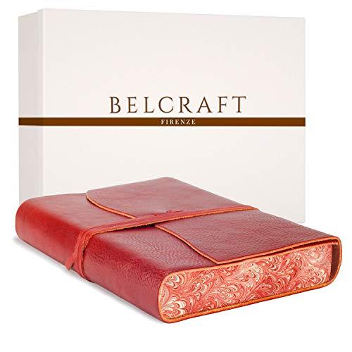 Venezia Romantica A5 mittelgroßes Notizbuch aus Leder, Handgearbeitet in klassischem Italienischem Stil, Geschenkschachtel inklusive, Tagebuch, Lederbuch A5 (15x21 cm) Rot