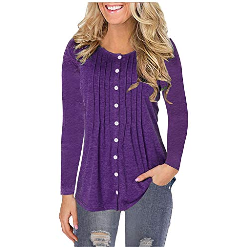 MOTOCO Women's Long Sleeved Shirt Solid Color Pleated O-Neck Button Casual Plus Size T-Shirt Top Blouse(5XL,Purple-Solid Color)