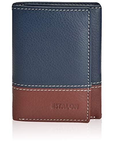 Billetera de piel para hombre, billetera de viaje delgada para hombre con billetera de piel con bloqueo RFID, Navy/Cognac Nappa, 3.5x4.4x0.75