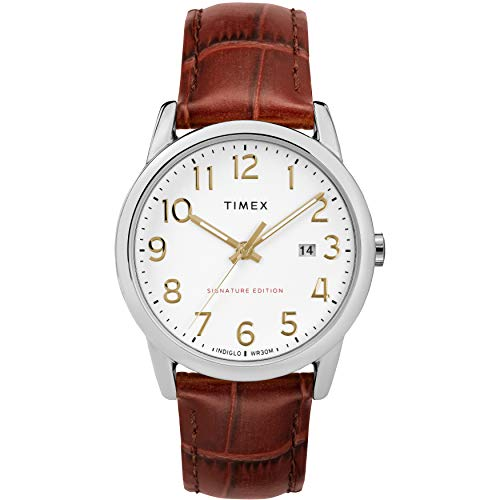 Timex Men's TW2R65000 Easy Reader Signature 38mm Brown/Silver-Tone Leather Strap Watch
