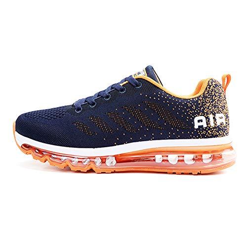 Sumateng Scarpe da Ginnastica Donna Uomo Sportive Sneakers Running Air Scarpe per Outdoor Fitness Corsa Walking Blue Orange 39 EU