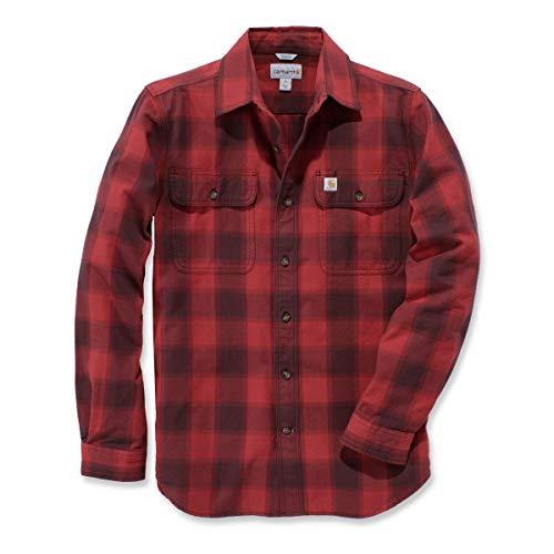 Carhartt Hubbart Slim Fit Flannel Hemd, Größe:L, Farbe:rot