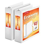 Cardinal Economy 3 Ring Binder, 3 Inch, Presentation View, White, Holds 625 Sheets, Nonstick, PVC Free, 2 Pack of Binders (79530)