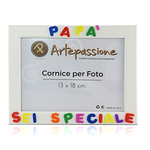 Cornici per foto in legno con la scritta Papà Sei Speciale, da appoggiare o appendere, misura 13x18 cm Bianca. Ideale per regalo e ricordo.