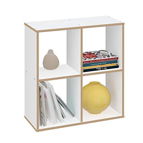 Polini Home Raumteiler Regal weiß mit Holzoptik 4 Fächer, 0002101.9
