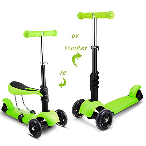 2-in-1 Kick Scooter with Removable Seat Great for...