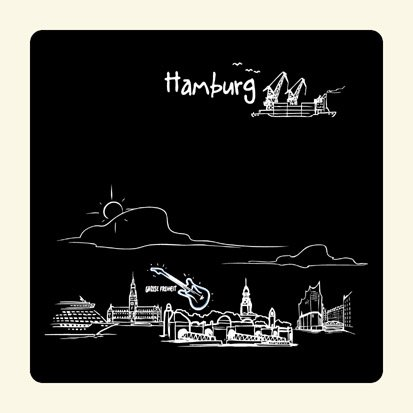 Untersetzer 2er Set Skyline Hamburg (schwarz) - als Geschenk für Hamburger & Fans der Hansestadt oder als Hamburg Souvenir