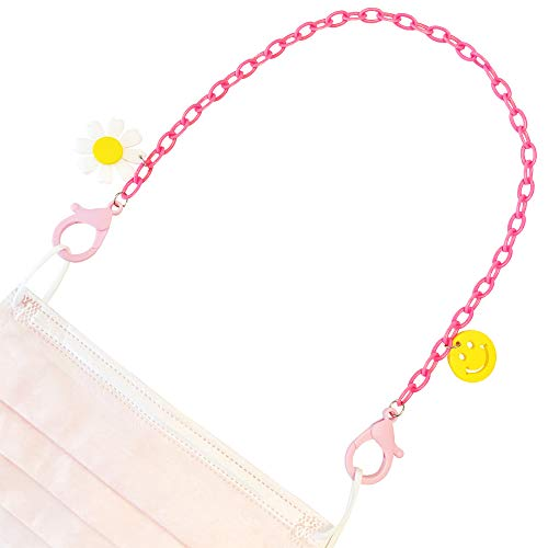 Pink Plastic Chain Mask Lanyard Necklace Holder with Daisy and Smiley Face Charms, Lightweight and Easy to Use Plastic Lobster Clasps, Cute Face Mask Strap for Girls and Women (Pink)