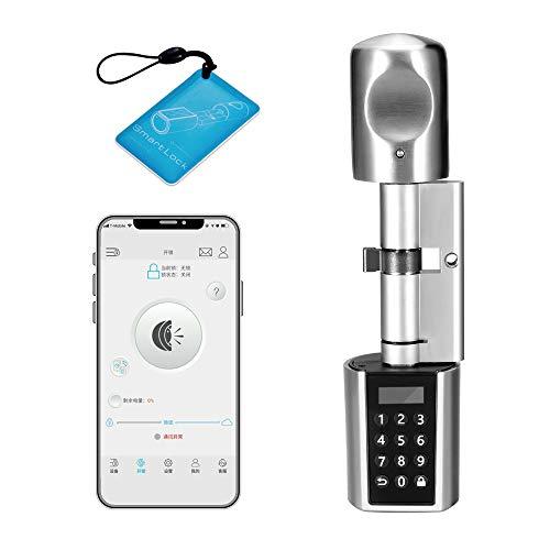WE.LOCK Smart Door Lock Zylinder Elektronisches Schloss Doppelmotor Passwort und Bluetooth mit 1 RFID-Karte, wasserdichte Hülle