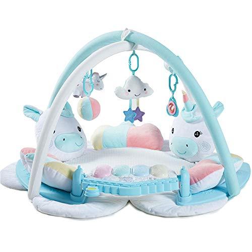 SMUOO Early Education Activity Gym Spielmatte Spielzeug mit Klavier Spielmatte mit Rassel Spielzeug für Neugeborene & 0-36 Monate Jungen und Mädchen-Blau mit Klavier