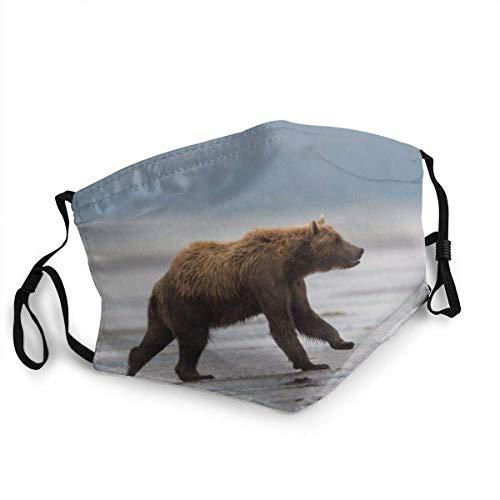 Wiederverwendbare Gesichtsmundabdeckung Schild Grizzly, Braunbär, Ursus Arctos, Laufen, Alaska Gesichtsschutz für Outdoor-Wanderungen Radfahren