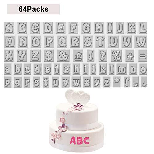 Buchstaben Ausstecher (64 Pcs) - BPA Freiem Kunststoff A - Z Fondant Ausstechform Buchstaben (2cm), 26 Großbuchstaben, 26 Kleinbuchstaben, 12 Symbole für Kuchen, Kekse Deko