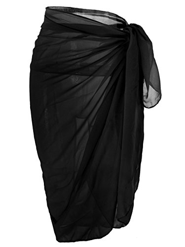 Ayliss Womens Swimwear Chiffon Cover up Solid Color Beach Sarong Swimsuit Wrap,Black