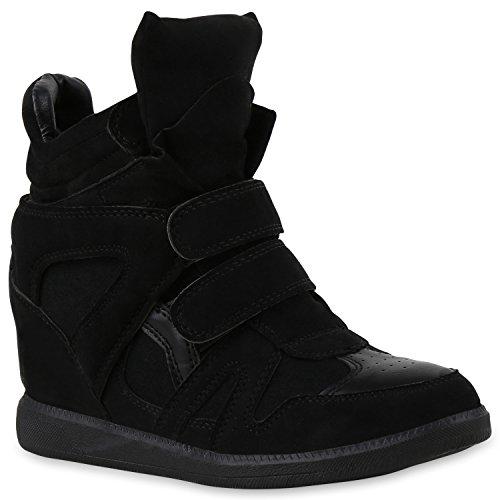 stiefelparadies Sportliche Damen Sneakers Sneaker Wedges Glitzer Lochung Keilabsatz Wedge Sport Schuhe 129111 Schwarz Autol 36 Flandell