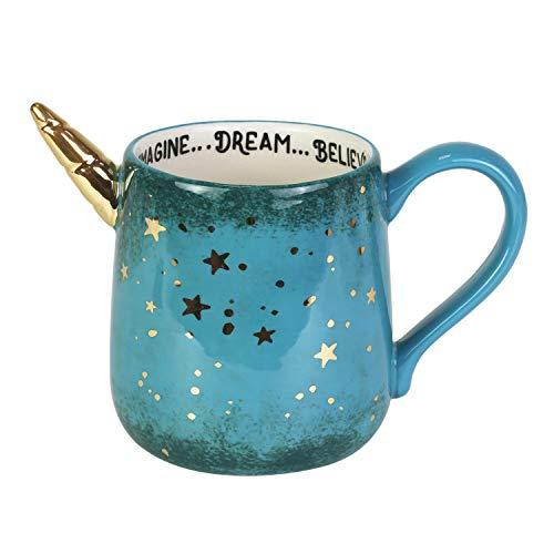 Enesco Our Name is Mud Gold Stars Unicorn Dream Sculpted Coffee Mug, 16 Ounce, Multicolor