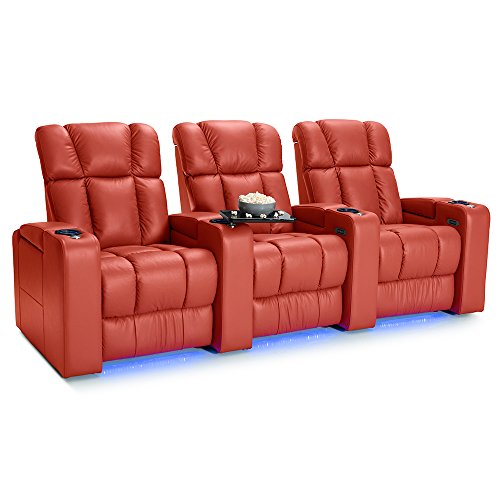 Palliser Collingwood Leather Home Theater Seating Power Recline - (Row of 3, Red)